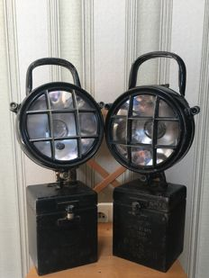 2x: Portable, Inspection DDR Army Lamp. Berlin Wall 1970 (?)