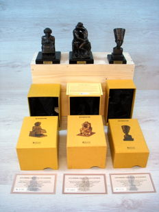 "Collection of three traditionally crafted bronze statues ""Atlas Collection"""