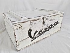 Promotional wooden box for Vespa from the 1970s