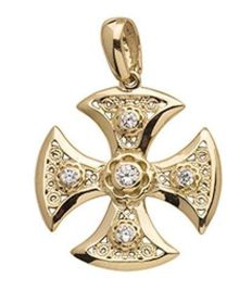 14 K rose gold cross with zircon stone - 2.3 cm