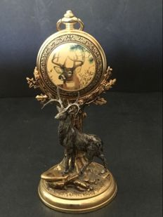 Official Franklin Mint pocket watch with roebuck and case