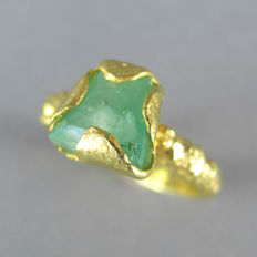 Artisan handmade Statement Engagement Ring in 18K Gold plated silver with genuine raw 1.8 carat Emerald