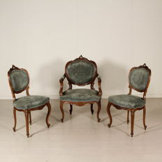 Group composed of one armchair and a pair of chairs in late Baroque style - Early 1900 - Italy