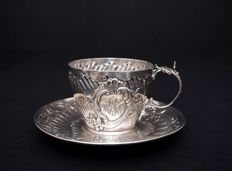 Silver cup and saucer, Henri Soufflot, France, 1884-1910