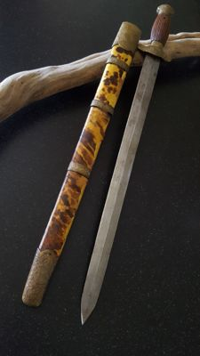 Antique Chinese Jian Sword with Turtle Scales Scabbard 19th