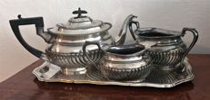Art Deco tea coffee pot set epns & tray HE &Co - silver-plate