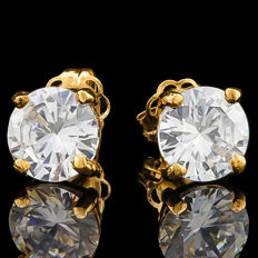 1.5 ct Created Moissanites 14K Yellow Gold Earrings - 6 mm