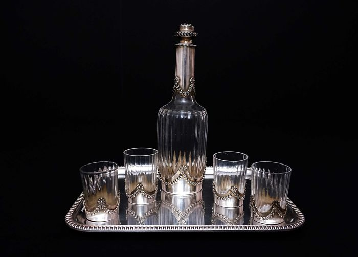 Sterling silver /crystal liquor decanter and 4 glasses, France, XIX/XX c.