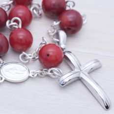 925/1000 Sterling Silver and Coral Beads Rosary - Length: 65 cm