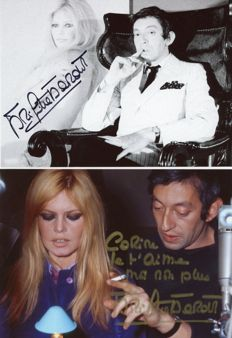 Brigitte Bardot and Serge Gainsbourg - 2 photos signed by Bardot.