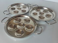Christofle, 3 serving plates for Escargots