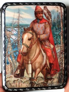 "Russian lacquer box  - ""Fedoskino"" – ""Based on the fairy tale ""The Tale of Ivan Tsarevich"""