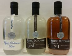 The 1st edition + 2nd edition + 3rd edition of Flying Dutchman No.1 Rum (from Zuidam) # total of 3 bottles