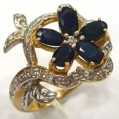 Fine 14CT Yellow Gold Natural Oval Black Sapphire & Diamond 0.119 cts Ring Size  US Size 7, UK Size N