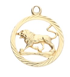 14 kt yellow gold pendant in the shape of circle with a lion in it – 1.5 grams – 21 x 18 mm