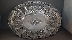 Floral decorated 800/1000 silver fruit bowl