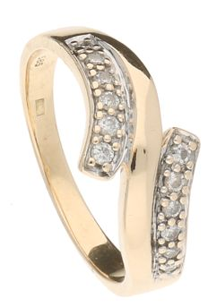 14 kt yellow gold stacking ring set with 12 brilliant cut diamonds of 0,01 ct each, 0.12 ct in total - ring size 17 mm