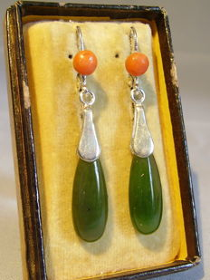 Designer earrings with polished jade / nephrite droplets and salmon corals