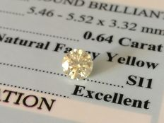 Diamond – 0.64 ct - Fancy Yellow/SI2 EXC/EXC/EXC ** No Reserve **
