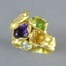 Artisan handmade Statement Cocktail Ring in 18K Gold plated silver with 5 genuine Gemstones over 2.5 ct - Pristine