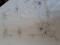 Hand embroidered tablecloth - Italy - 1960s.