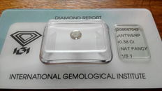 0.38ct Brilliant cut Diamond: Certified and sealed in IGI, Nat. fancy  VS1