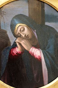 Painting depicting the Madonna at the foot of the Cross, not signed