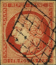 France 1849 - 1 franc vivid vermillion, grill cancellation, Roumet certificate - Maury Spink no. 7a.