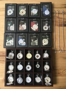 Collection of 15 silver plated mechanical pocket watches in luxury display cabinet