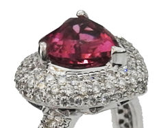 Heart Tourmaline Rubellite Pave Diamond Ring
