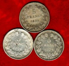 France – 5 Francs 1834-M, 1834-W, and 1835-A (set of 3 coins) – Louis Philippe I – Silver