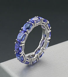 Fine memory ring with 12 luminous tanzanites – 5.00 ct – 750 white gold – no reserve price