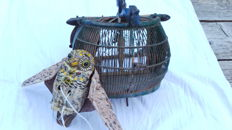 Antique birdcage, top quality with decoy owl for catching and luring of small songbirds, falconry