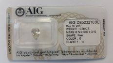 0.98ct PEAR DIAMOND  NATURAL G I1  AIG - NO RESERVE