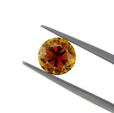 2.05 ct. Natural Fancy Deep Brown Orange Round Brilliant Cut Diamond, GIA Certified