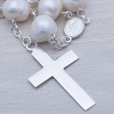 925/1000 Sterling Silver & Pearls Rosary - Length: 65 cm