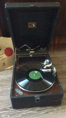 His Masters Voice case gramophone with 2 records and needles