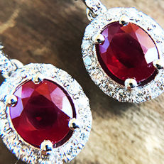 2.09ct Ruby and Diamond Earrings made of 18 kt white gold - NO RESERVE -