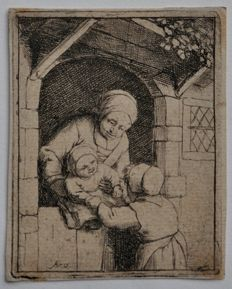 "Adriaen van Ostade (1610 - 1685) - A mother with her two children"" -  1682 - Date of impression unknown"