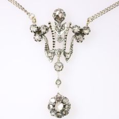Victorian antique diamond gold backed silver pendant with necklace - approx. 1880