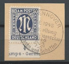 Allied occupation Bizone 1945 - M in oval with sheet edge on letter fragment - Michel 34D