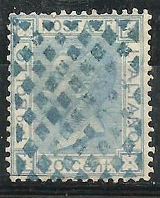 Italy 1867 – 20 cent. – Turin circulation – Fully cancelled with the 'Tripoli di Barberia' rhombus stamp (P 12)