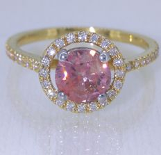 18 kt yellow gold ring with fancy pink colour cut diamond of 1.10 ct & 0.40 ct in diamonds – RG 55