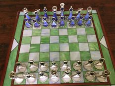 Stained glass chess set - very decorative - handmade - including matching chessboard