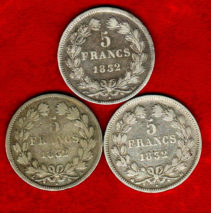 France - 5 Francs 1832-A and 1832-BB, and 1832-D (set of 3 coins) - Louis Philippe I - Silver.