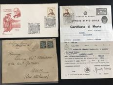 Lot Alessandro Manzoni - Original death certificate of 1971 with celebration postmarks - Centennial envelope with stamps - envelope Avv. Enrico Manzoni to Manzoni's widow
