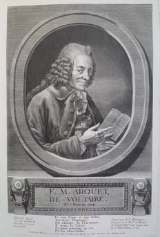 Benoît-Louis Henriquez (1732-1806) after Barat - F. M. Arouet, de Voltaire - in memory of philosopher Voltaire (1694-1778) from the year of his death - 1778