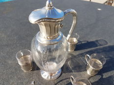 Christofle Gallia - Art Deco liquor set - Silver plated metal  / Crystal
