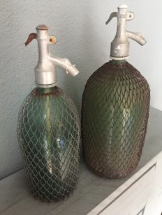 Two French soda water bottles, mid 20th century