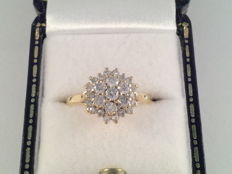 18 kt yellow gold ring with brilliant cut diamonds 0.63 ct - ring size 16.5/51
